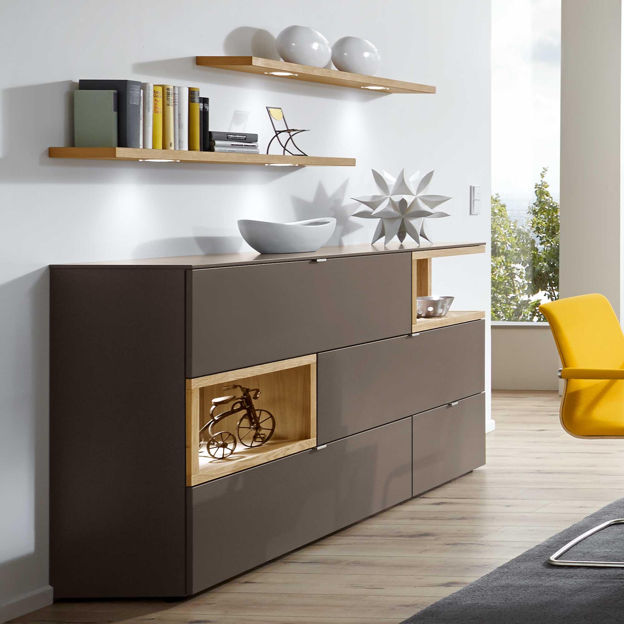wohnkombi andiamo von venjakob in grau m bel b r ag. Black Bedroom Furniture Sets. Home Design Ideas