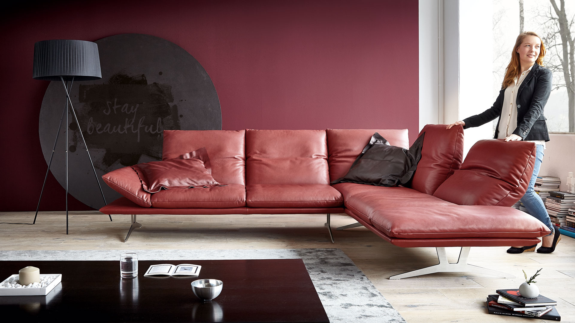 koinor sofa francis in rot leder m bel b r ag. Black Bedroom Furniture Sets. Home Design Ideas