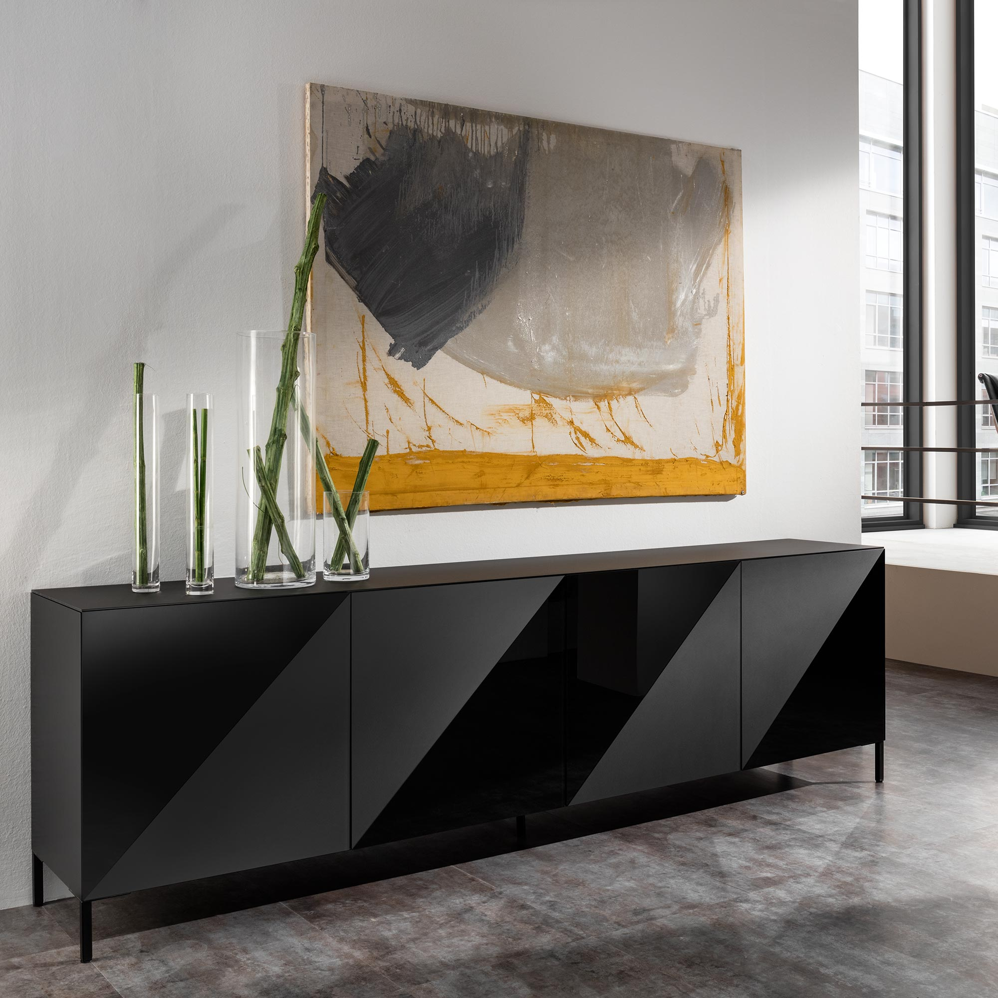 ayla sideboard schwarzmatt schwarzlack von mab m bel b r ag. Black Bedroom Furniture Sets. Home Design Ideas