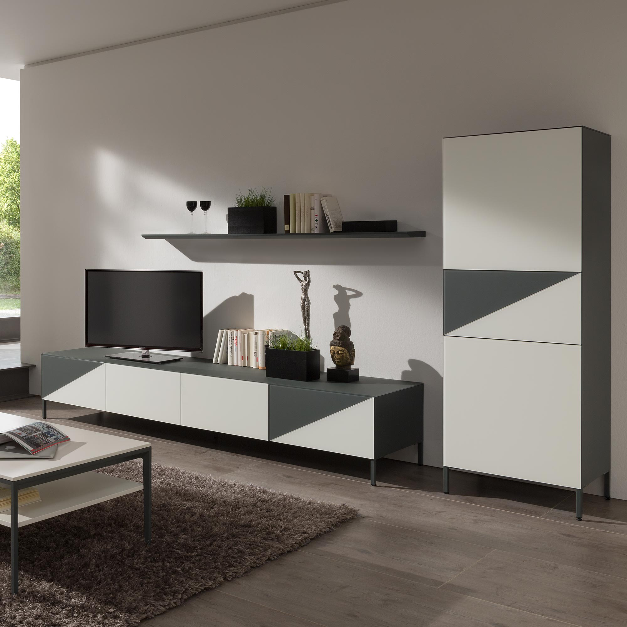 ayla highboard anthrazit weiss von mab m bel b r ag. Black Bedroom Furniture Sets. Home Design Ideas