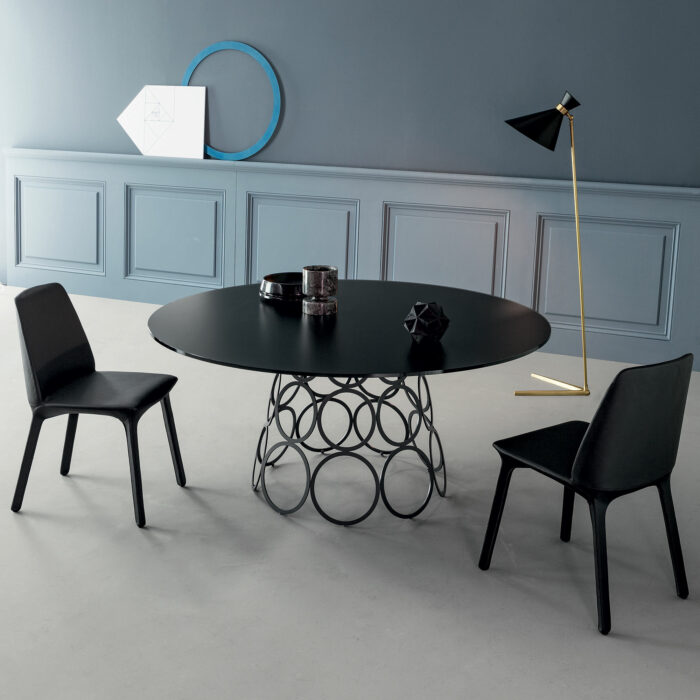 Hulahoop Rund Glaskeramik schwarz Tisch von Bonaldo