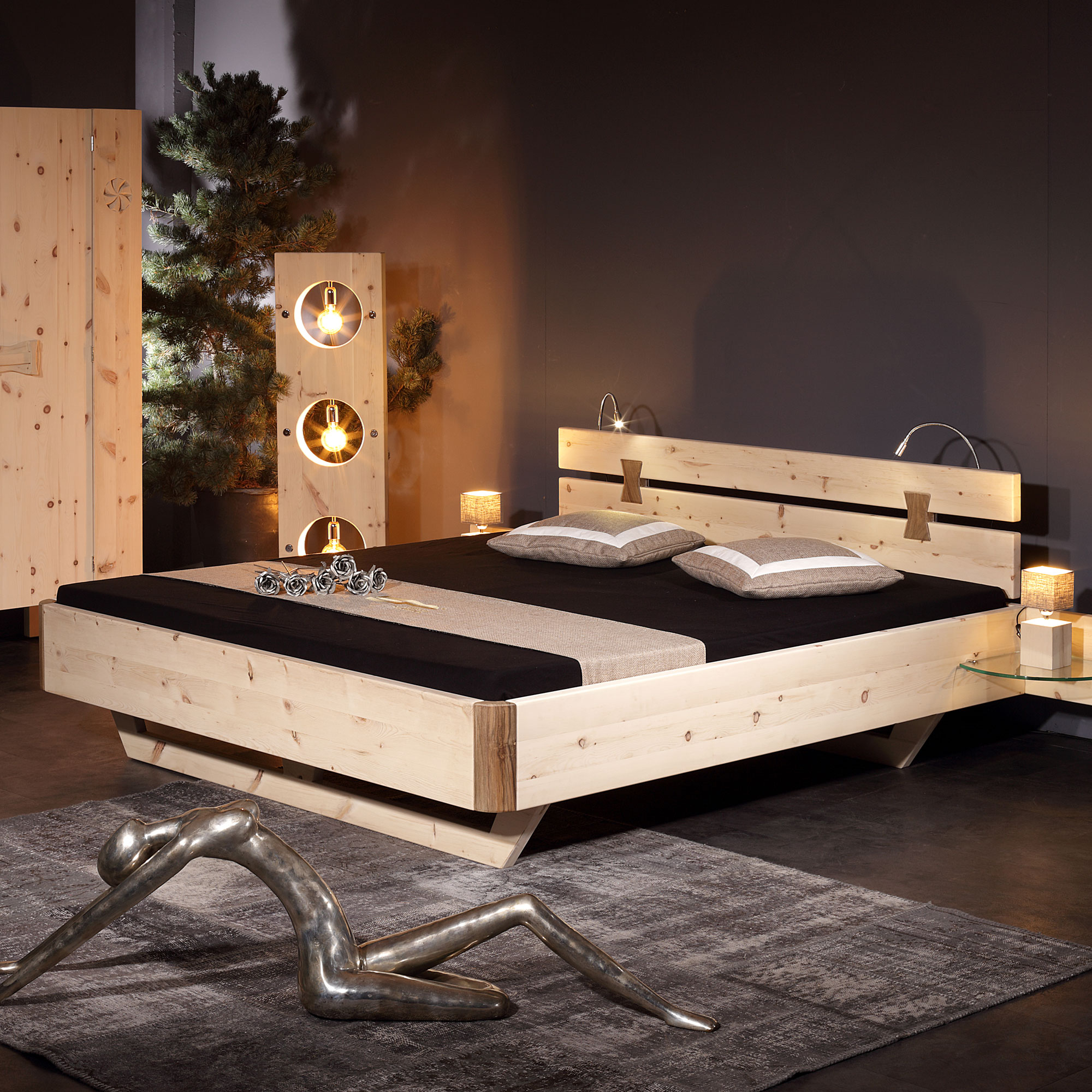 sprenger bett aus arve zirbe m bel b r ag. Black Bedroom Furniture Sets. Home Design Ideas